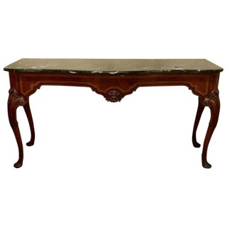 Antique Queen Anne Fashioned Sideboard Console Malachite Style Marble Top For Sale