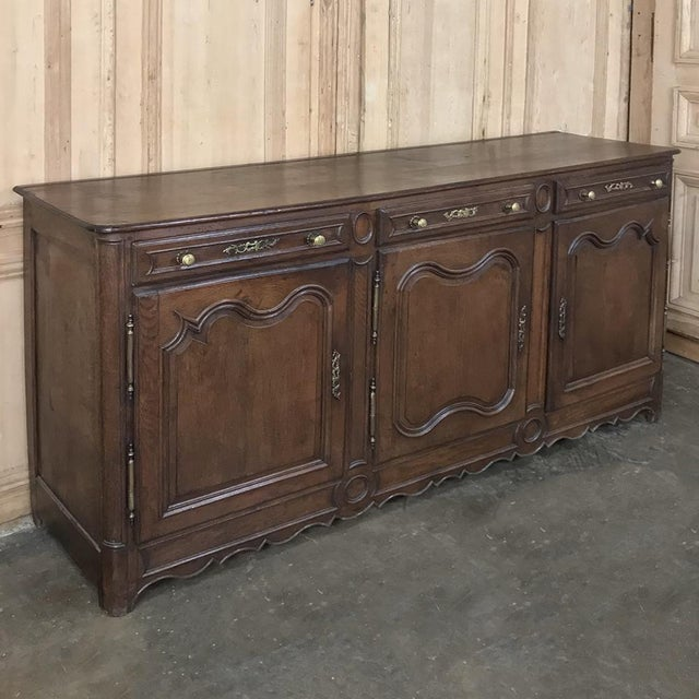 Country 19th Century Country French Provincial Oak Low Buffet For Sale - Image 3 of 13