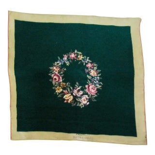 Antique Needlepoint Piece with Wreath of Flowers