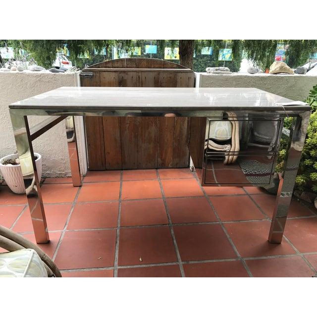 HD Buttercup Modern Travertine & Chrome Desk - Image 2 of 4