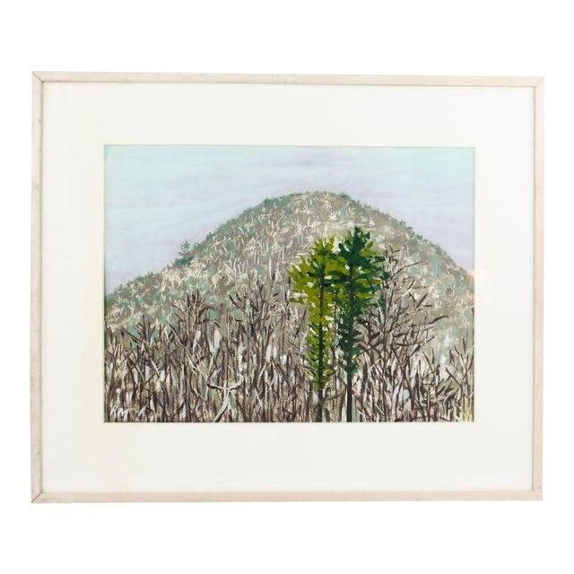Modern Impressionist Watercolor Mountain Landscape For Sale
