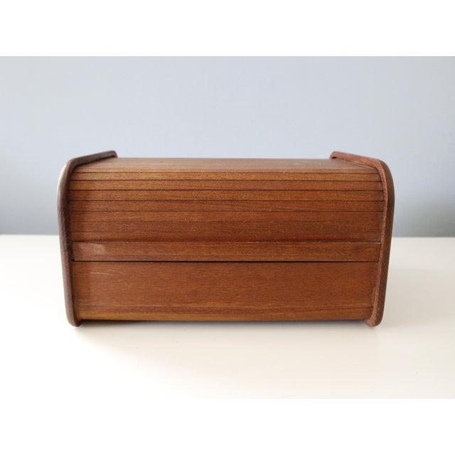 Brown Kalmar Teak Wood Tambour Storage Box CD Organizer Danish Modern For Sale - Image 8 of 8