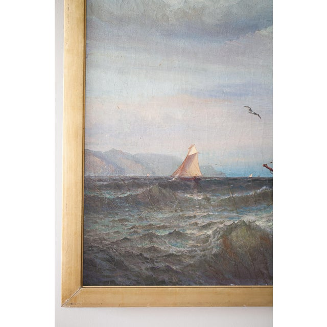"""""""Regatta on a Choppy Sea"""" Oil Painting on Canvas by Julian O. Davidson, Dated 1877 For Sale - Image 10 of 13"""