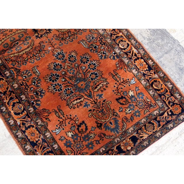 Islamic 1920s Handmade Antique Persian Sarouk Rug 2.1' X 3.10' For Sale - Image 3 of 9