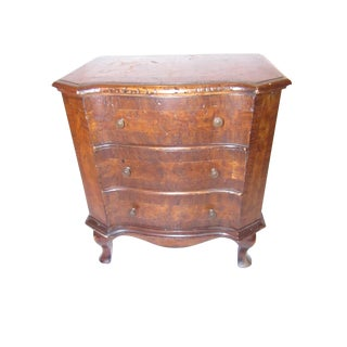 Antique Miniature 3 Drawer, Burl Wood Chest of Drawers Side Table For Sale