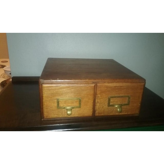 Vintage Oak Library Card Catalog (2 Drawer File Box). Solid oak index card file for 3 x 5 cards. Very nice functional...