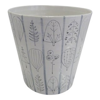 1960s Raymor Bitossi Italian Large Flowerpot Jardenier Decorated With Stylized Leaves and Trees For Sale