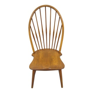 Vintage Mid Century Maple Wood Fan Back Colonial Windsor Dining Side Chair For Sale