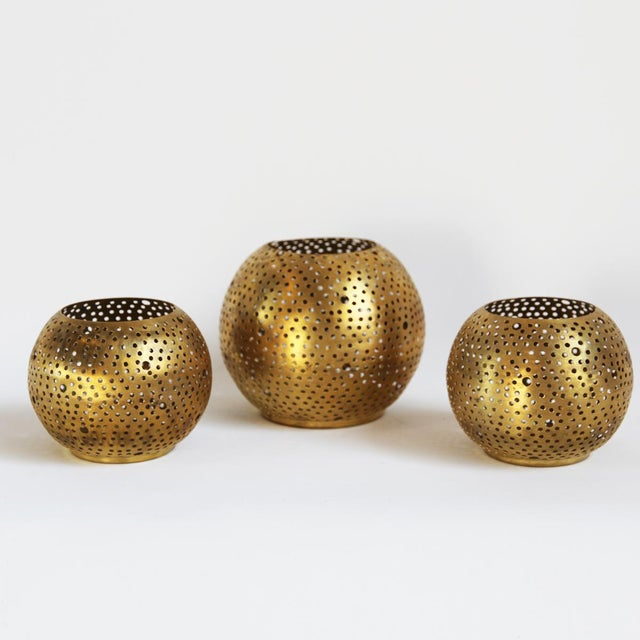 Small Brass Ball Candle Holder - Image 3 of 3