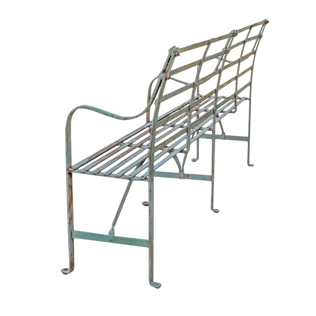 Slatted Iron Bench For Sale In New York - Image 6 of 9