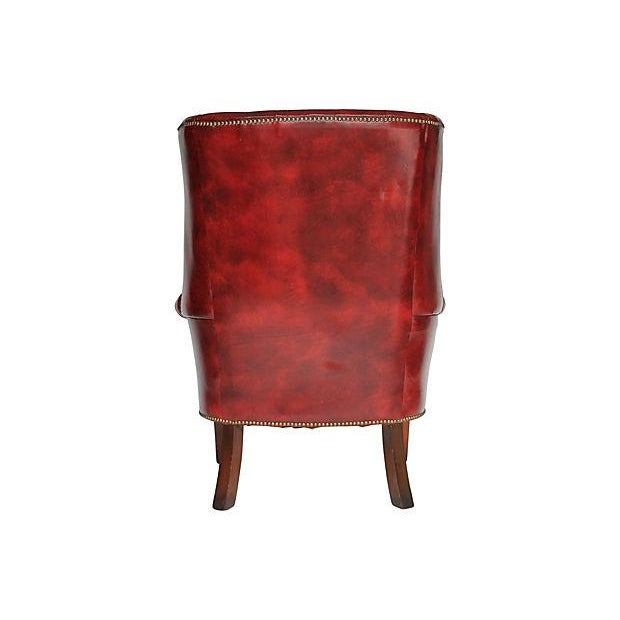 Tufted Leather Wingback Chair - Image 4 of 8