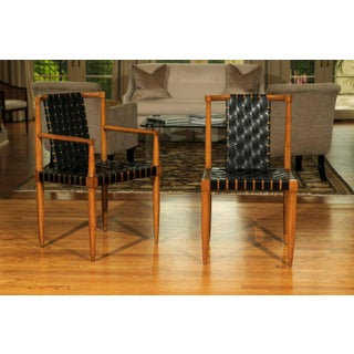 Miraculous Rare Set of 8 Leather Strap Dining Chairs by Tomlinson, Circa 1958 Preview