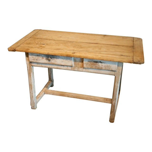 Painted Oak Two Drawer Table For Sale