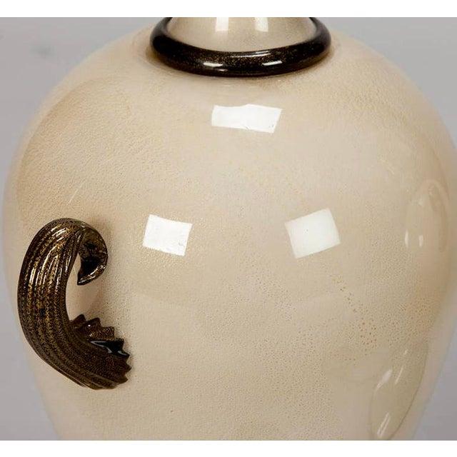 Pair of Mid Century Murano Amphora Art Glass Aventurine Table Lamps - Image 8 of 8