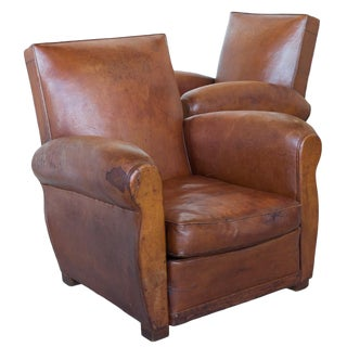 Vintage Art Deco Leather Club Chairs - a Pair