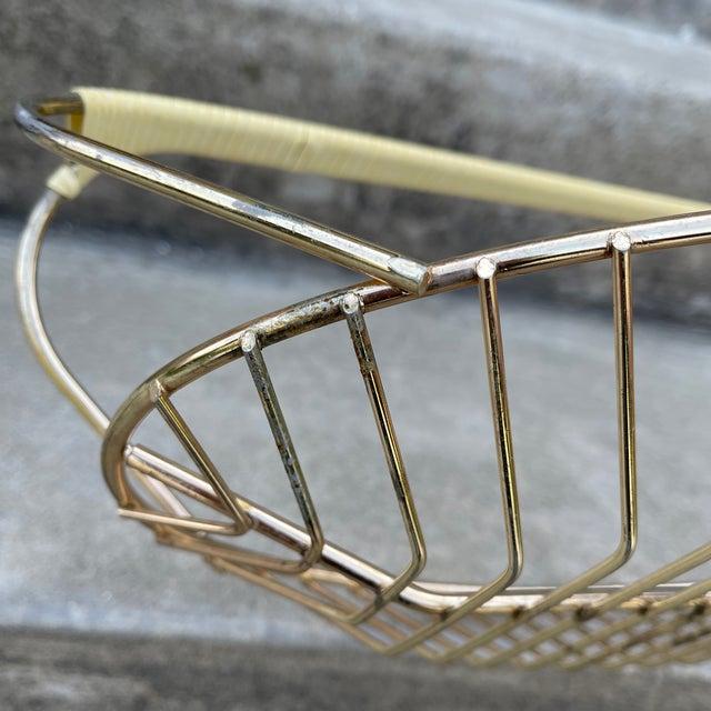 Wicker Wicker Wrapped Brass Fruit Bread Basket For Sale - Image 7 of 11