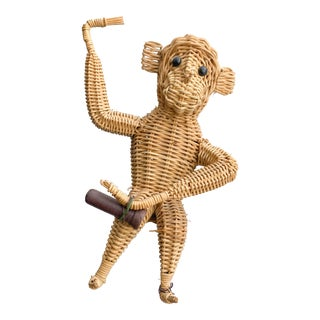 1960s Vintage Hanging Wicker Monkey For Sale