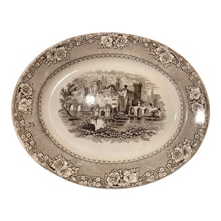 """Late 19th Century Brown Staffordshire Transferware Pattern """"Alhambra, 14"""" Platter For Sale"""