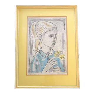 """Original Vintage Irvin Amen Lithograph """"Young Girl"""" 1970's For Sale"""