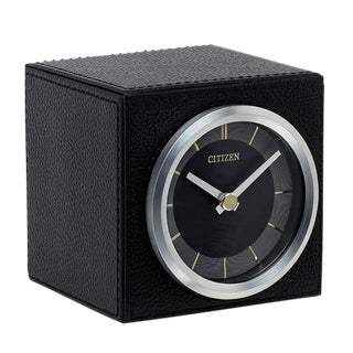 Black Leather Citizens Desk Clock For Sale