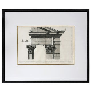 Framed Engraving of a Corinthian Column and Architrave by Francisco Piranesi For Sale