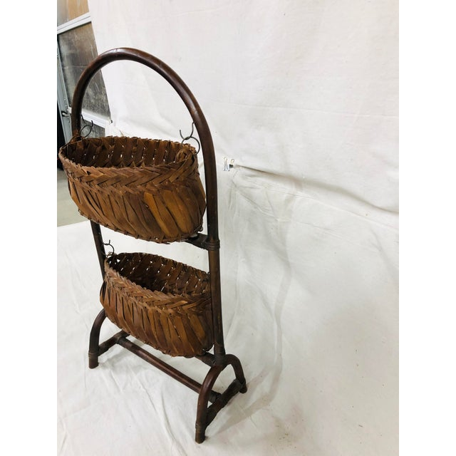 Rustic Mid-Century Bentwood Two Basket Organizer For Sale - Image 3 of 11