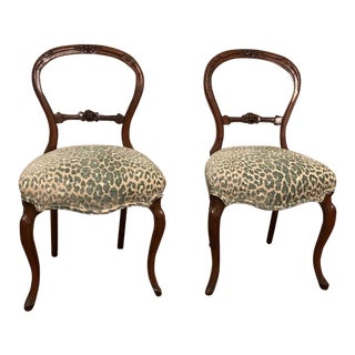 Late 19th Century Antique Victorian Balloon Back Chairs- A Pair For Sale