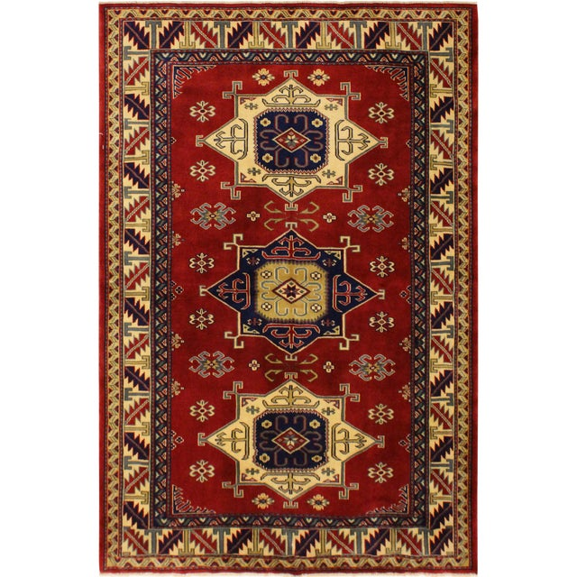 Sherwan James Red/Ivory Wool Rug - 4'1 X 5'10 For Sale
