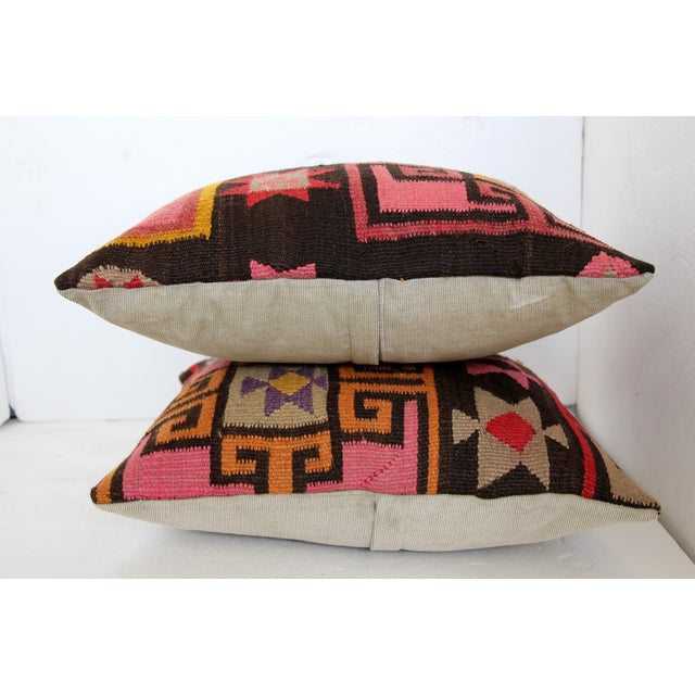 Pink Turkish Kilim Cushions - Pair - Image 5 of 6