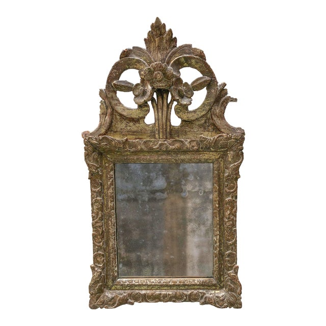 Brown Louis XIV Mirror, Carved Gilt Wood Provincial For Sale - Image 8 of 11