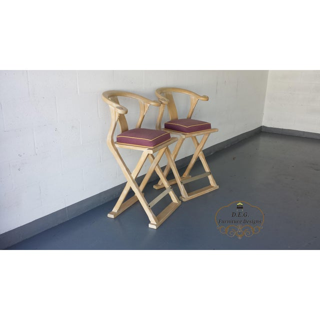 1980s Vintage Chinoiserie Bar Stools - a Pair For Sale - Image 5 of 11