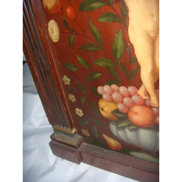 Antique Painted French Wood Panel of Cherub & Fruit & Bird For Sale - Image 9 of 11