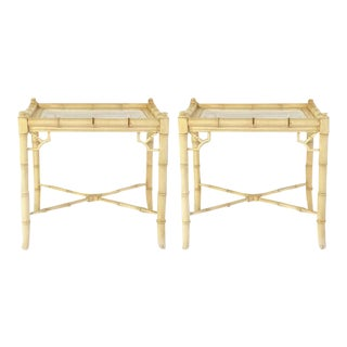 Pair of Faux Bamboo Side Tables With Glass Tops, C. 1960