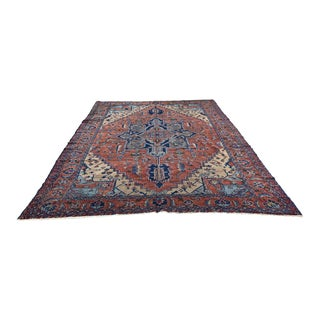 Early 20th Century Antique Persian Serapi Rug - 7′8″ × 10′10″ For Sale