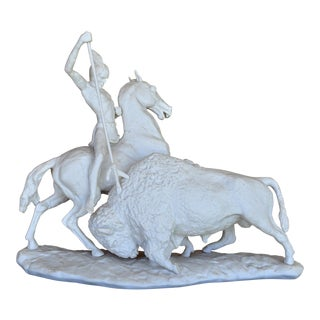 Laszlo Ispanky Porcelain Sculpture of a Native American Hunting a Buffalo For Sale