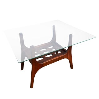 1960s Scandinavian Modern Teak Glass Top Accent Table For Sale