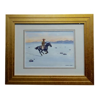 "Leonard Reedy ""Cowboy Winter Rider"" Painting For Sale"