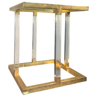 AMAZING LUCITE AND BRASS ACCENT, OR SIDE TABLE BY CHARLES HOLLIS JONES For Sale