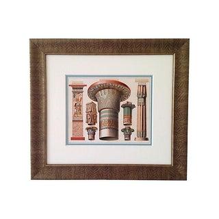 Antique Egyptian Capitals Lithograph, 1888