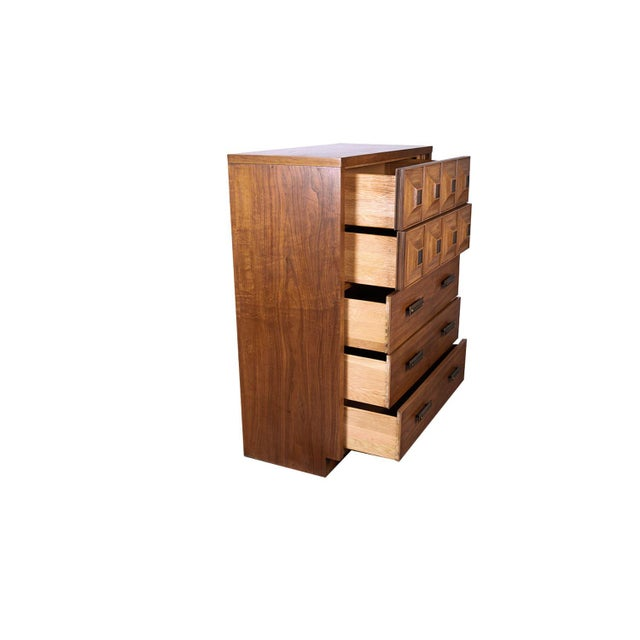 Early 20th Century Mid Century Lane Furniture Five Drawer Tall Highboy Dresser For Sale - Image 5 of 11