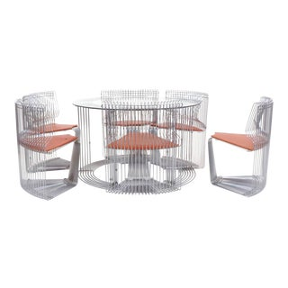 "Verner Panton ""Pantonova"" Dining Set of Dining Table and Six Chairs For Sale"