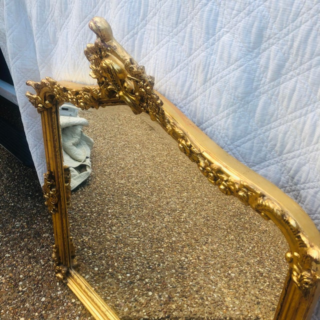 French Antique Gold Gilt Wood Frame Beveled Mirror For Sale - Image 3 of 12