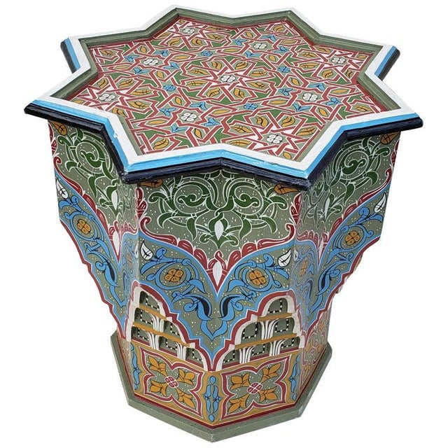 Wood Moroccan Ceuta Painted and Carved Star Table For Sale - Image 7 of 7