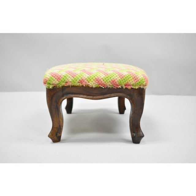 Walnut Early 20th Century Antique Louis XV Style Walnut Footstool For Sale - Image 7 of 12