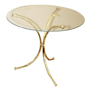 Vintage Hollywood Regency Faux Bamboo Brass and Glass Side Table For Sale