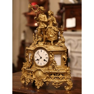 19th Century French Louis XV Gilt Bronze and White Marble Mantel Clock Preview