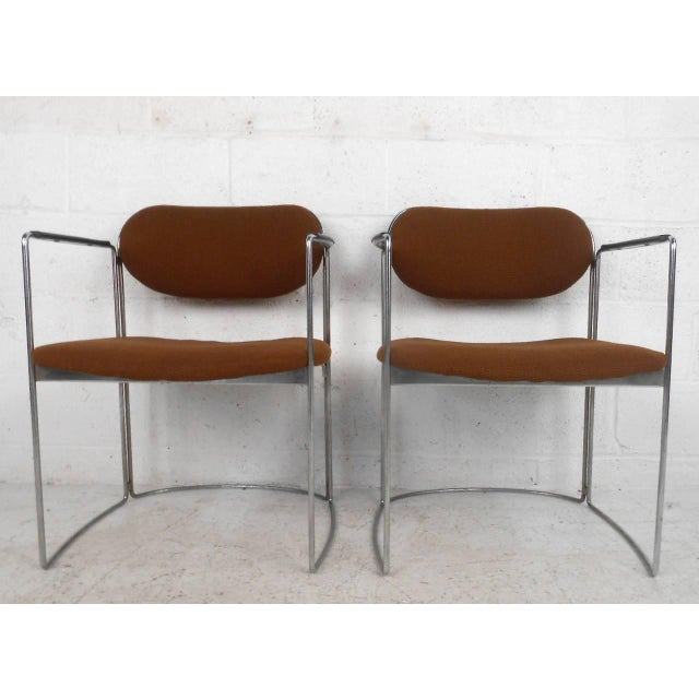 Mid-Century Chrome & Upholstery Office Armchairs - Set of 7 - Image 3 of 10