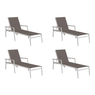 Outdoor Sling Chaise Lounge, Vintage and Cocoa (Set of 4) For Sale