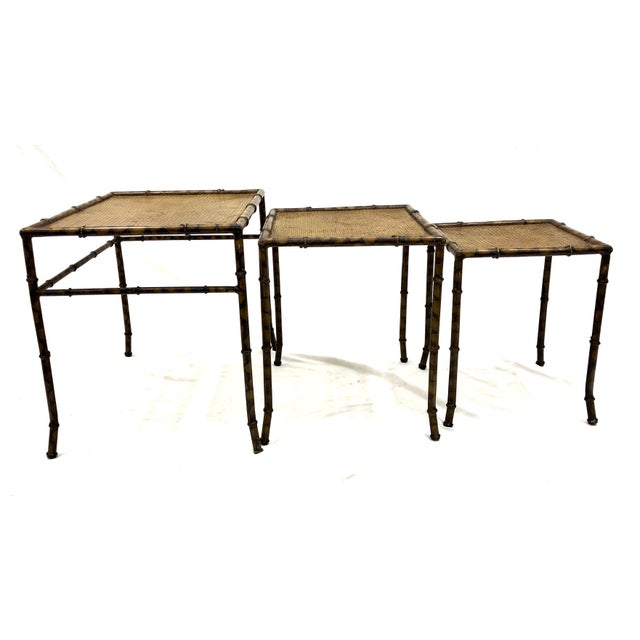 20th Century Chinoiserie Faux Painted Steel Bamboo Nesting Tables - Set of 3 For Sale - Image 11 of 12