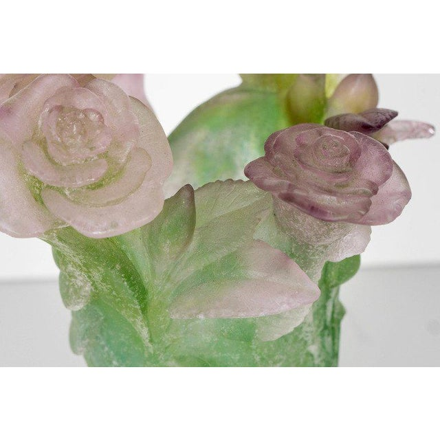 Exquisite Pate Verre Roses Vase by Daum For Sale In New York - Image 6 of 9
